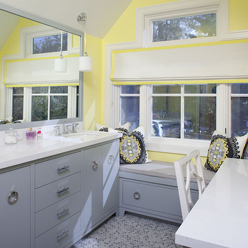 Yellow and gray master bathroom with gray double bathroom  vanity, gray ...
