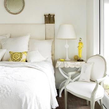 Atlanta Homes & Lifestyles - bedrooms - yellow accents, yellow bedroom accents, scalloped nightstand, whitewashed nightstand, whitewashed bedside table, wood headboard,