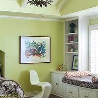 At Home in Arkansas - girl&#039;s rooms - green, walls, white, built-ins, cabinets, built-in, window seat, white, orange, bolster, pillows, white, green, zigzag, chevron, bedskirt, chocolate brown, bedding, green, headboard, 6-Arm Grande Claire Chandelier - Bronze, Panton Chair - White,