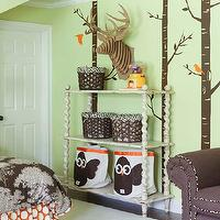 At Home in Arkansas - girl's rooms - green, walls, trees, wall stickers, chocolate, brown, seafan, duvet, bedding, orange, circles, shams, bedskirt, white, vintage bookshelf, brown, oversized, chair, baskets, 3 Sprouts Owl Storage Bin, Cardboard Deer Trophy Head,