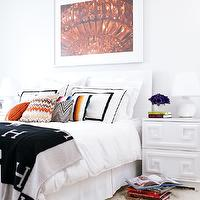 bedrooms - white slipcovered headboard white lamp Missoni pillows flokati rug  The World According to Jessica Claire Style at Home  Chic bedroom