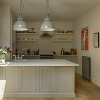 1st Option - kitchens - gray, walls, modern, kitchen, pendants, gray, kitchen cabinets, chunky, gray, floating shelves, herringbone, wood, floors, marble, countertops,
