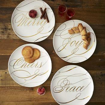 Miscellaneous - Sesame Letterpress�?® Holiday Sentiment Dessert Plates | west elm - holiday, sentiment, dessert, plates
