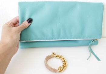 MadeByGirl, TEAL LEATHER FOLDOVER LEATHER CLUTCH