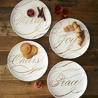 Miscellaneous - Sesame Letterpress? Holiday Sentiment Dessert Plates | west elm - holiday, sentiment, dessert, plates