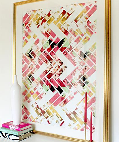 Art/Wall Decor - Wild Herringbone - Colorful Abstract Geometric Art - pink, wild, herringbone, art