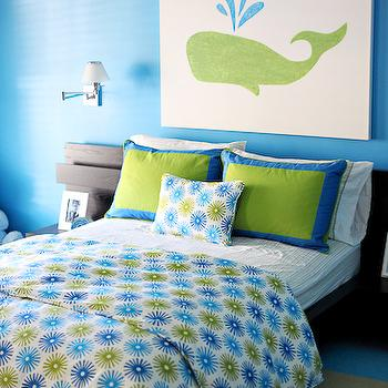 EJ Interiors - boy's rooms - Platform IKEA bed, canvas art, kid's rooom, darkwood furniture, green and blue, whale art, swing arm wall lamps, striped FLOR rug, platform bed, blue and green boys room, blue and green boys bedroom,