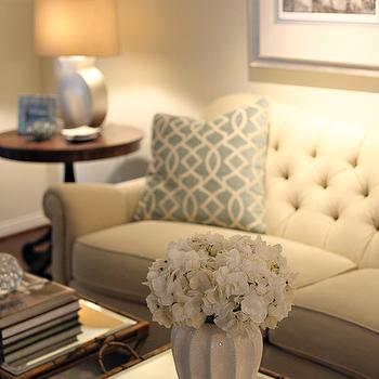 Cream Tufted Sofa, Transitional, living room, EJ Interiors