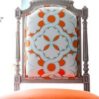 EJ Interiors - dining rooms - Reupholstered chair, orange and aqua, vintage chair,  Designed by Emily Johnston Larkin