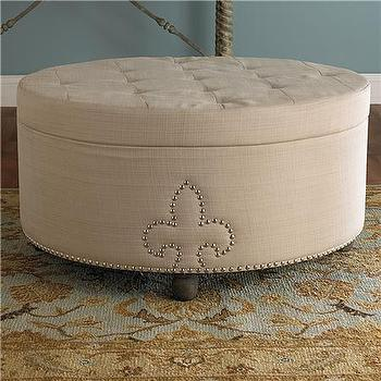 Seating - Fleur De Lis Round Tufted Ottoman - Shades of Light - fleur de lis, round, tufted, ottoman