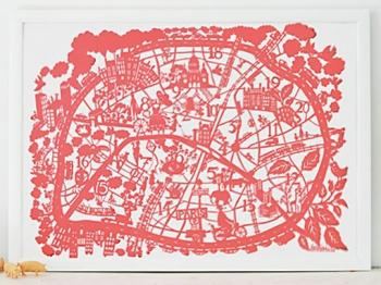 Art/Wall Decor - MadeByGirl - PARIS MAP CORAL - paris, map, coral, art