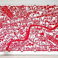 Art/Wall Decor - MadeByGirl - LONDON MAP RED - london, map, red, art