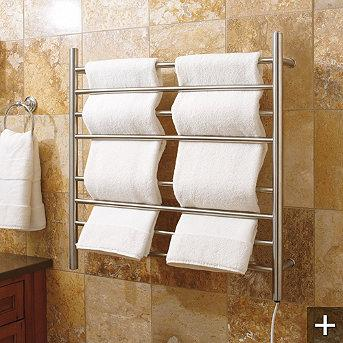 Bath - Myson Wall-mount Towel Warmer - Frontgate - stainless steel, wall mount, towel, warmer