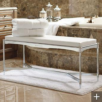 Bath - Belmont Vanity Bench - Frontgate - stainless steel, belmont, bathroom, bench