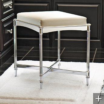 Bath - Belmont Vanity Stool - Frontgate - stainless steel, bathroom, stool