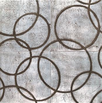 Tiles - Walker Zanger - Circolo Pattern, Silver on Flannel 4 Piece Pattern, backsplash