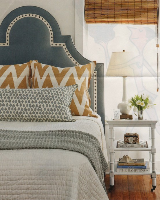 bedrooms - studded headboard, blue headboard, blue studded headboard, white nightstand, white bamboo nightstand, faux bamboo nightstand,  Awesome
