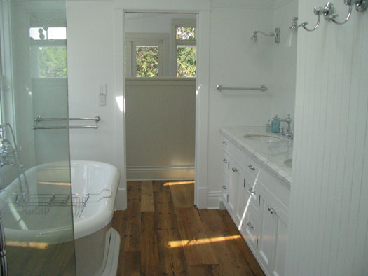Wesley Ellen Design & Millwork - bathrooms - traditional cabinets, inset cabinets, master en-suite, reclaimed wood floors,  Waterfront home master