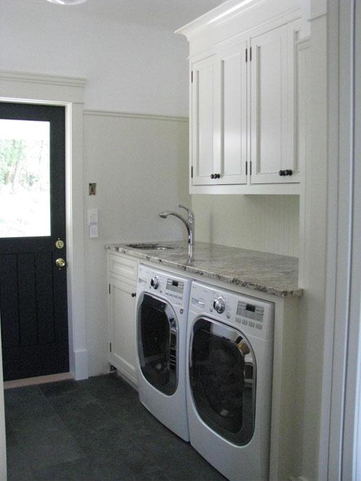 Black door cottage laundry room wesley ellen design - Mudroom designs laundry room ...