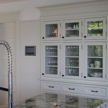 Wesley Ellen Design & Millwork - kitchens - traditional cabinets, built-in, reclaimed wood floors, inset cabinets, beaded inset cabinets, beach cottage, vacation home, white kitchen, hutch, built in hutch, glass front hutch,