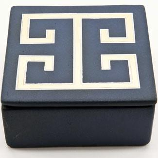 Decor/Accessories - Zhush || Blue and Gold Greek Key Box - blue, gold, greek key, box