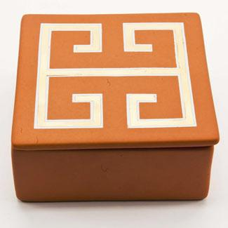 Decor/Accessories - Zhush || Orange and Gold Greek Key Box - orange, gold, greek key, box