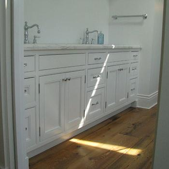 Wesley Ellen Design & Millwork - bathrooms - master en-suite, bathroom, vanity, inset cabinets, traditional cabinets, reclaimed wood floor,