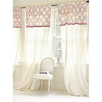 Window Treatments - Aimee Panel with Valance - Ballard Designs - white, pink, moorish tiles, window panels