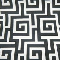 Fabrics - Oskar - Terrace Flint Contemporary Outdoor Fabric by Swavelle - white, black, greek key, outdoor, fabric