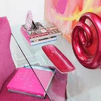 Jennifer Backstein Interiors - dens/libraries/offices: Feminine, pink, waterfall desk, pink upholstered chair with nailheads, abstract painting,