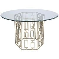 Tables - Worlds Away Jackson Silver Leaf Dining Table - worlds away, jackson, silver leaf, dining table