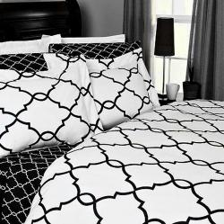 Bedding - Metro Hotel Style Black and White Mosaic Duvet Cover Set - white, black, moorish tiles, duvet, bedding