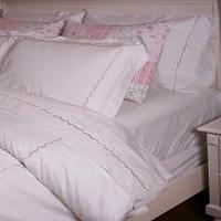 Bedding - Hotel Blue Scallop Embroidery Duvet Cover Set - pink, scallop, bedding, duvet, set