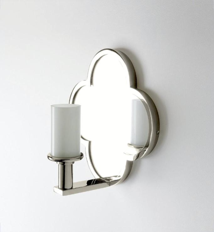 Wall Lights With Mirror : Wall Mounted Clover Quadrifoil Single Arm Mirror Sconce with White Diffuser Shade a?a??a ...