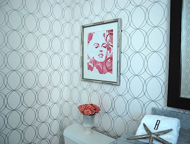 Darcy White And Silver Wallpaper Transitional Bathroom