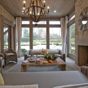 Melanie Turner Interiors - decks/patios - sunroom ideas, rustic sunroom, brick sunroom, sunroom fireplace,  Rustic sunroom