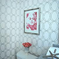 bathrooms - darcy wallpaper, white and silver wallpaper, interlocking circles wallpaper, silver bamboo frame, silver bamboo picture frame, COZAMIA Marilyn Monroses Art Print, Darcy White & Silver Wallpaper,