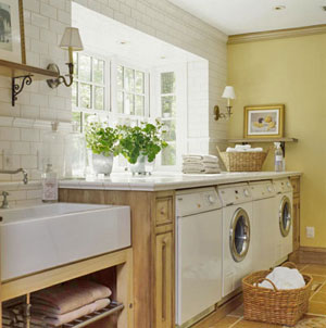 laundry/mud rooms - laundry, yellow, painted brick, brick, sunlight, white,  Laundry room with lots of nautral sunlight and yellow painted walls