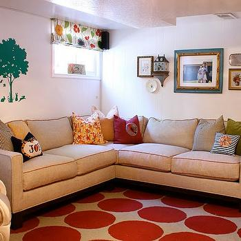 Alice Lane Home - basements - playroom, basement playroom, basement play room, beige sectional, piped sectional, red dots rug, dots rug,  colorful