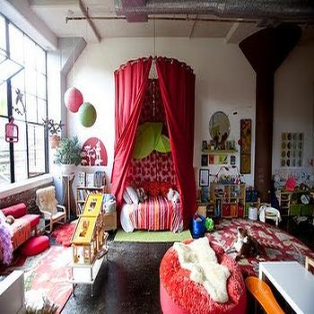 girl's rooms - girls bedroom, girls bed canopy, bed canopy, red bed canopy, daybed canopy, girls daybed canopy, canopy daybed,  colorful girls