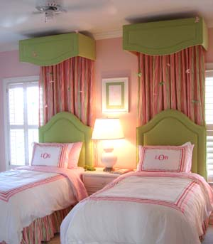 girl's rooms - pink and green girls room, pink and green girls bedroom, pink and green room ideas, pink and green girls bedroom ideas, girls bed canopy, pink curtains, pink bed panels, green headboards, monogrammed bedding, pink monogrammed bedding,