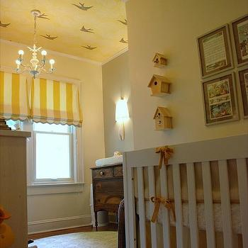 nurseries - wallpaper ceiling, wallpapered ceiling, striped roman shade, scalloped roman shade, white and yellow roman shades,  wallpaper ceiling.