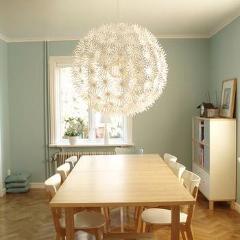 dining rooms - ikea chandelier, ps maskros, herringbone floor, herringbone wood floor,  pastal dining room
