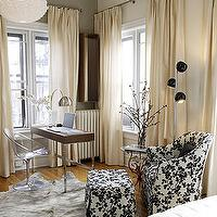 dens/libraries/offices - ivory curtains, ivory drapes, ivory window panels, acrylic chair, acrylic desk chair, black and white chair, black and white ottoman,