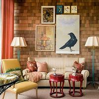 living rooms - art, lamps, colorful,  colorful living area