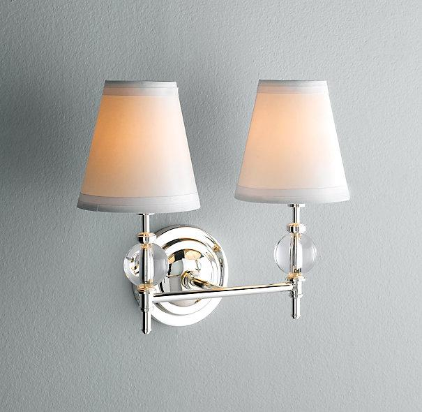 Bathroom Wall Sconces Pictures : Wilshire Double Sconce Bath Sconces Restoration Hardware