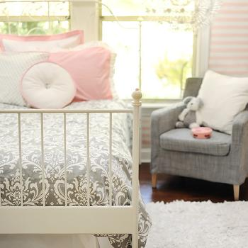 New Arrivals Inc - girl's rooms - pink and gray girls room, pink and gray girls bedroom, damask bedding, gray damask bedding, damask duvet, gray damask duvet,