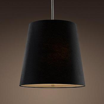 Lighting - Barrel Shade Pendant Black Linen | Pendants | Restoration Hardware - barrel, shade, black, linen, tapered, pendant