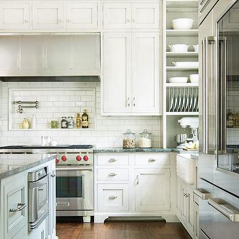 BHG - kitchens - cooktop niche, kitchen cooktop niche, ubatuba granite, ubatuba granite countertops, ubatube granite counters, built in plate rack, plate rack,