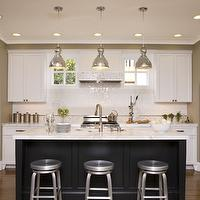 Kitchens kitchen cabinets glossy subway tiles mercury glass